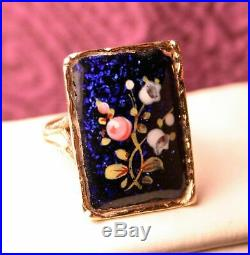 Victorian Antique 14K Yellow Gold Ring Hand Painted Blue Pink Floral Enamel