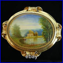Victorian Antique 15 Ct Gold Hand Painted Miniature Water Colour Locket Brooch