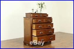 Victorian Antique 1860 Walnut Chest or Dresser, Hand Carved Pulls #30829