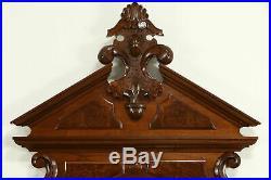 Victorian Antique 1870 Hand Carved Walnut & Burl King Size Bed #32322