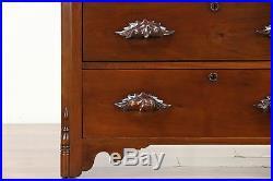 Victorian Antique 1870 Walnut Chest or Dresser, Hand Carved Pulls #30198