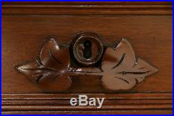 Victorian Antique 1880 Walnut Library Desk, Hand Carved Pulls #32098