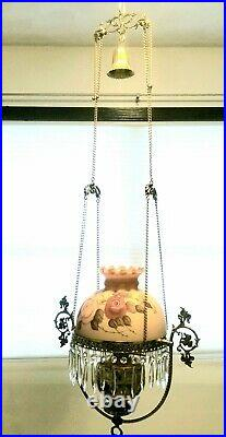 Victorian Antique Brass Hanging Oil Parlor Lamp withHand Painted Floral Glass