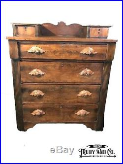 Victorian Antique Chest Of Drawers Dresser Buffet Hand Carved Pulls Tongue/Goove