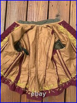 Victorian Antique French Bodice Woman's Corseted Jacket Hand Embroidery Ladies