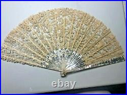 Victorian Antique Mother of Pearl Cream Brussels lace folding Hand held Fan