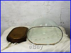 Victorian Antique Oval Hand Blown Glass Dome Globe Mantle Clock Steampunk 14.17