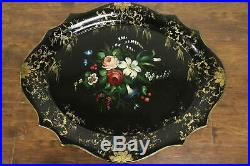 Victorian Antique Papier Paper Mache Hand Painted Tray, Coffee Table Base #32286