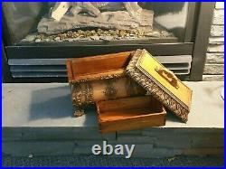 Victorian Antique Tea Caddy Hand Carved Solid Mahogany Wood Chest Trunk Replica