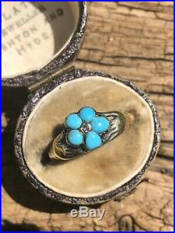 Victorian Antique Turquoise Diamond Fede Hands Gold Ring Band Forget Me Not
