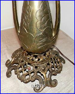 Victorian Banquet Oil Lamp Hand Painted with Florals Brass with great filigree work