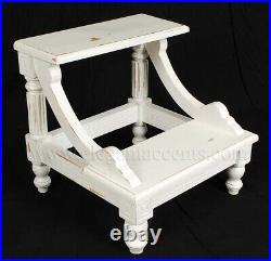 Victorian Bed Step Hand Carved Solid Mahogany White finish Library