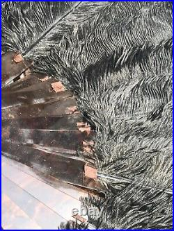 Victorian Black Ostrich Feather Faux Tortoise Shell Hand Fan