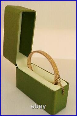 Victorian / Edwardian 9ct Rose Gold Hand Engraved Bangle Bracelet. NICE1