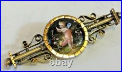 Victorian Era Antique Gold Tone Hand Painted Enamel Cherub angel fairy Bar Pin