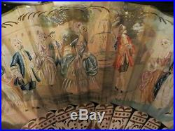 Victorian Fan Glass Gilt Frame Mint 23 x 17 Antique Hand Painted Wood Paper