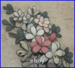Victorian Folk Art Mourning Wreath hand made of wool flowers