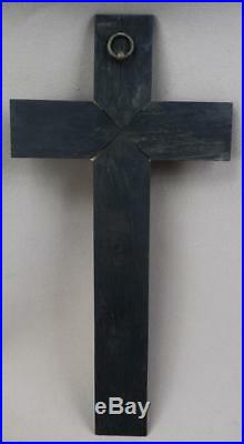 Victorian French Antique Hand Carved Black Wood Wall Crucifix Cross