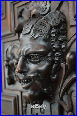 Victorian French Hand Carved Wood Sculpture Door Wall Panel Devil Bacchus Faun