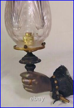 Victorian Gas Light Sconce Fixture Woman Hand Fine Cut Glass Shade
