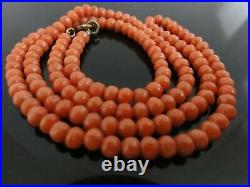 Victorian Genuine Salmon Red Hand Carved Quality Coral Necklace