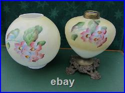 Victorian Hand Painted Florals Gone with the Wind Oil Lamp F. G. Co. Electrified