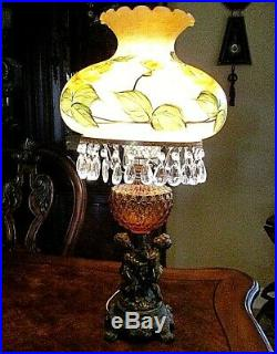 Victorian Hand Painted Globe Crystal Lamp With Amber & Cherubs On Base