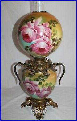 Victorian Hand Painted Gone with the Wind Oil Lamp With ROSES (GWTW Banquet Lamp)