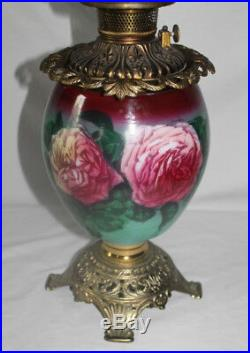 Victorian Hand Painted Gone with the Wind Oil Lamp with ROSES RARE 12 Shade