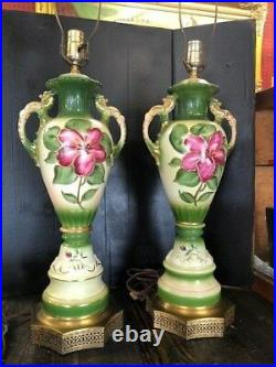 Victorian Hand Painted Porcelian Floral Pair of Lamps Table Lamps Set of 2