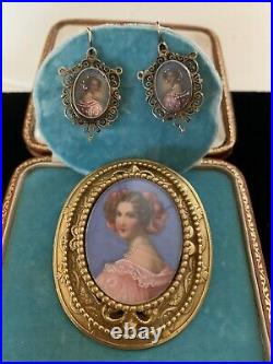 Victorian Hand Painted Portrait Earrings And Hand Painted Pendant/Brooch