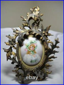 Victorian Hand Painted Portrait on Porcelain with Very Ornate Brass Easel Frame