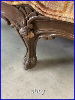 Victorian Late 1800s Hand Carved Loveseat Settee Sofa Couch
