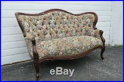 Victorian Late 1800s Hand Carved Solid Walnut Loveseat Settee 1300