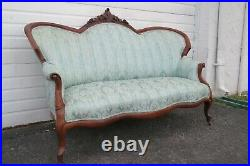 Victorian Late 1800s Hand Carved Solid Walnut Sofa Couch 1235