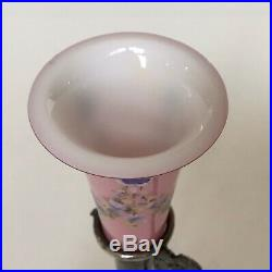 Victorian MERIDEN B. Company Silverplate Pink Hand Painted Glass Bud Vase No. 333