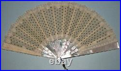 Victorian Mother of Pearl, Gauze, & Spangles Folding Hand Fan with box