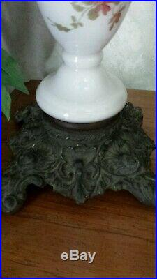 Victorian Oil Lamp Gwtw Globe Hand Painted Cherubs Consolidated Burner 3 Tier