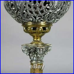 Victorian Onyx & Gilt Metal Parlor Lamp with Hand Painted Peony Shade circa 1890