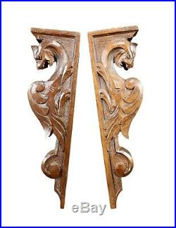 Victorian Pair of Hand Carved Wood Shelf Bracket Griffin Furniture Support