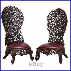 Victorian Rosewood Hand Carved Anglo Indian Burmese Chairs Oxblood Leather Pair