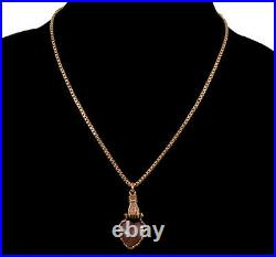 Victorian Saphiret Glass Heart Hand Fist Pendant Box Chain Necklace C. 1880
