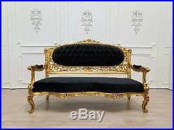 Victorian Sofa/ Antique Gold Leaf Finish Frame/ Tufted Black Velvet/ Hand Carved