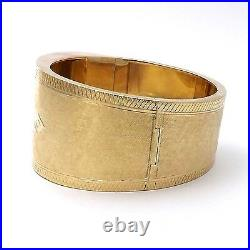 Victorian Solid 14K Gold Hand Engraved Wide Belt Buckle Bangle Bracelet 55 grams