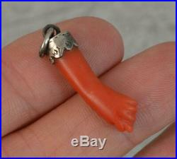 Victorian Solid Silver and Coral Hand Carved FIGA Charm Pendant