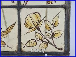 Victorian Stained Glass Window Hand Painted Kiln Fired Bird & Flowers Motifs