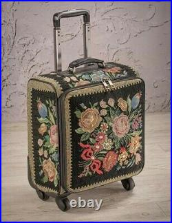 Victorian Trading Co Midnight Garden Tote Hand Beaded Rolling Suitcase