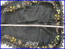 Victorian Vintage Antique Black Hand Beaded Mourning Apron Embroided Msg Beads