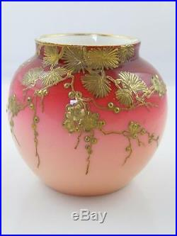 Victorian Webb Cased Peachblow Glass Hand Gilded & Decorated Vase