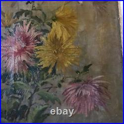 Victorian antique mums hand painted original oil PAINTING Vintage flower floral